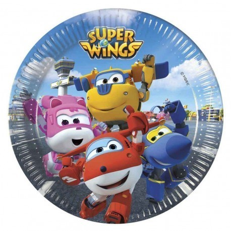Pratos 20cm Super Wings c/8